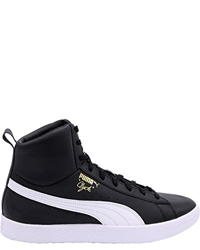 Puma Clyde Mid Core Folie Herren Schwarz Leder High Top Lace Up Sneakers Schuhe (Herren High-top Puma Schuhe)