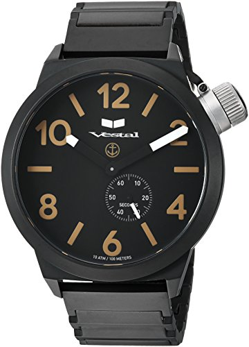 Vestal 'Canteen Metal' Quartz Stainless Steel Casual Watch, Color:Black (Model: CNT453M07.1BKM)