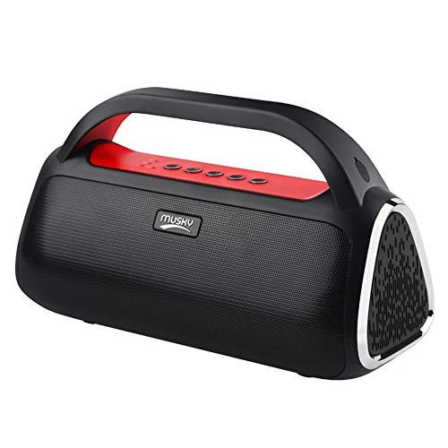 DevileLover Im Freien Wireless Bluetooth 5.0 Lautsprecher Eingebaute 2000 mAh Batterie 360° TWS Stereo Sound FM Radio Freisprechfunktion für Home Camping Reisen,Red