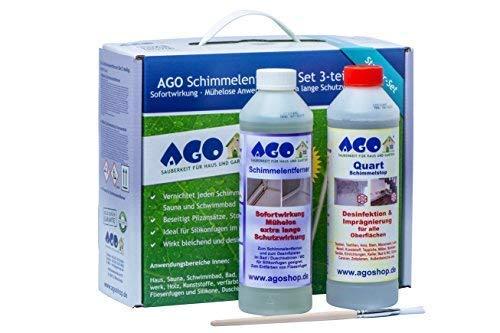 """AGO Schimmelentferner + Schimmelstop Set 3tlg. Stärkstes \""""Anti-Schimmel-Mittel\"""" auf dem Markt! Für Innen und Außen geeignet."""