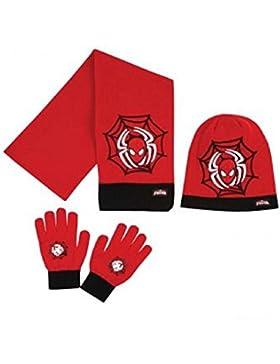 Spiderman - Set de bufanda, gorro y guantes - para niño Rojo rojo
