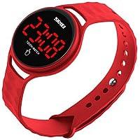 Lemumu 1230 Hombre Mujer Ver Deportes Multi - Función Deportes impermeable reloj Relojes electrónicos 50 metros de pantalla táctil resistente al agua, rojo