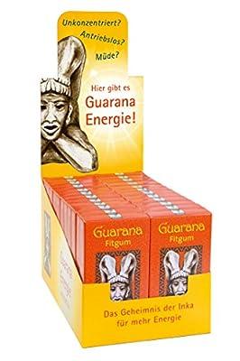 BADERs Guarana Fitgum aus der Apotheke. Display mit 24 Packungen. Energie-Kaugummi mit Guarana-Extrakt. Das Geheimnis der Inka für frische Energie. Immer dann, wenn's drauf ankommt. Zuckerfrei, mit Xylitol. Pharmazentralnummer: 08529013