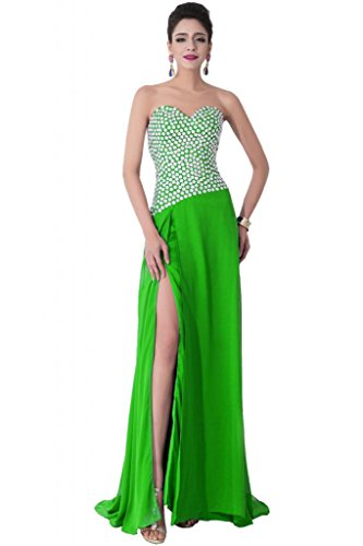 Sunvary Sexy con fessura frontale in Chiffon Pageant abiti da sera o da cerimonia, con diamanti Verde lime