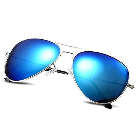 HMILYDYK Aviator Polarized Sunglasses Vintage Reflective Mirror Lenses Classic Metal Frame UV400 Men's Eyewear