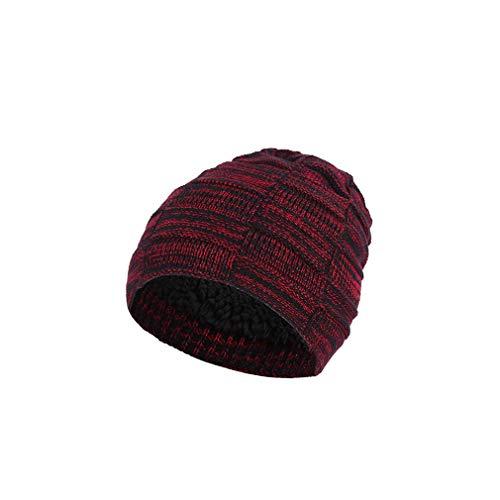 L_shop Double Layers Weave Striped Hat Crochet Plüsch Winter Wintermütze Skull Caps Skull Caps für Outdoor, Rotwein Crochet Skull Cap Hat