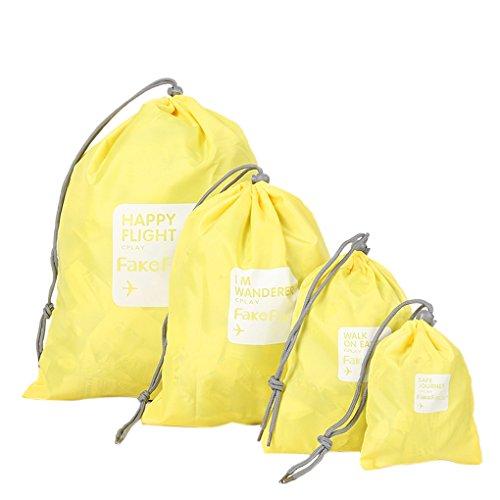 BXT 4 Pcs Aufbewahrungstasche Nylon Drawstring Reisentaschen Geschäftsreise Familie Reisen Wasserdichte Beutel Schuh Beutel Organisator Lagerbeutel Spielraum Speicher von 4 Größe Gelb