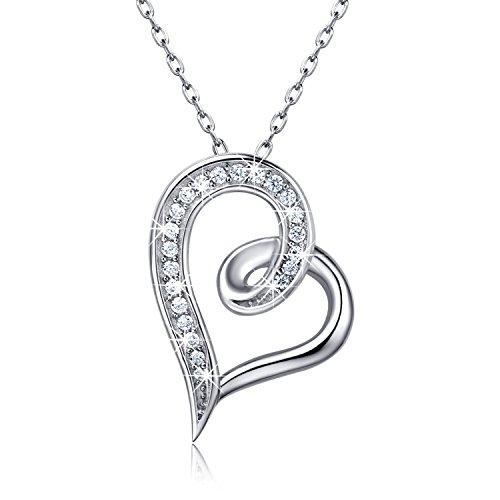 """Billie Bijoux Collier en Argent 925 Infinity cœur CZ diamant Pendentif en Or blanc plaqué """"Eternal Love"""" pour femmes 18 pouces"""