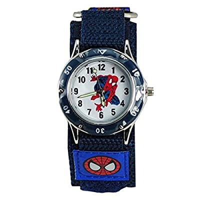 QBD Kids Spider Man Waterproof Spiderman Watch Fast Wrap Strap Boys Girls Children Birthday Gift Watches (Blue)