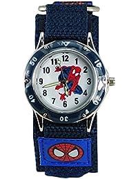Kids Spider Man Waterproof Spiderman Watch Fast Wrap Strap Boys Girls Children Birthday Watches (Blue 1)