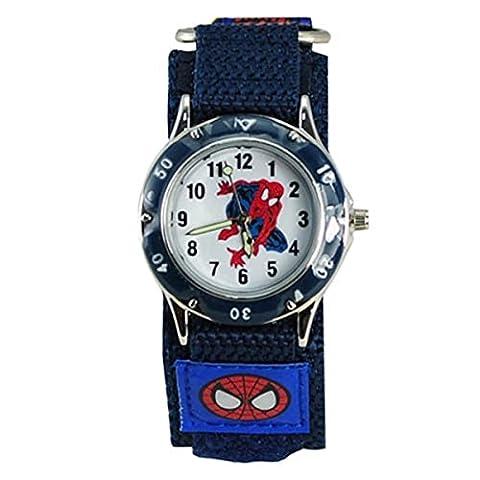 QBD Montre étanche pour enfant Motif Spiderman Bracelet enrouleur Idée cadeau d'anniversaire pour garçon et fille Bleu