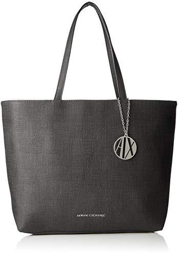 Armani exchange texturized shoulder bag - borse tote donna, nero, 30.0x10.0x42.0 cm (b x h t)