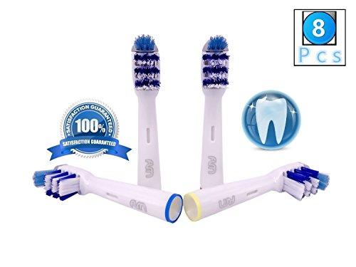 Flm trizone eb30-4 - testine di ricambio per spazzolino elettrico compatibili con braun oral b, 8 ricambi