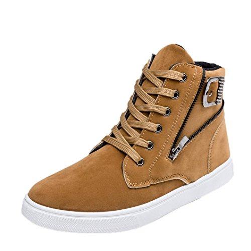 FEITONG Herren Schuhe Sneakers, High-Top Schuhe Warme Stiefel Canvas Turnschuhe, Größe 39~44, Schwarz Blau Gelb (44, Gelb)