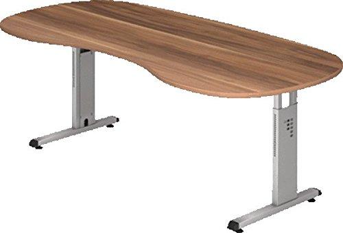 Hammerbacher Schreibtisch höhenverstellbar'O' in Silber/Einbrennlackiert Ausführung (Tischplatte): Zwetschge, Ausführung (Fuß): Silber