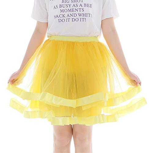 WOZOW Damen Tüllrock Einfarbig Multi-Schichten Ballettrock Tanzkleid Unterrock Frauen Party Karneval Halloween Kostüm Prinzessin Kleider (66-120,Gelb mit Rand)