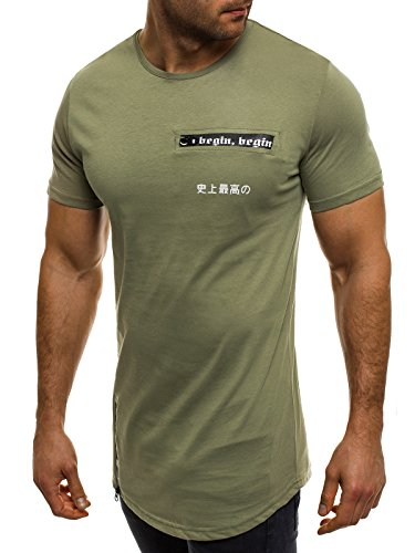 OZONEE Herren T-Shirt mit Motiv Kurzarm Rundhals Figurbetont ATHLETIC 1026 Grün_BREEZY-293