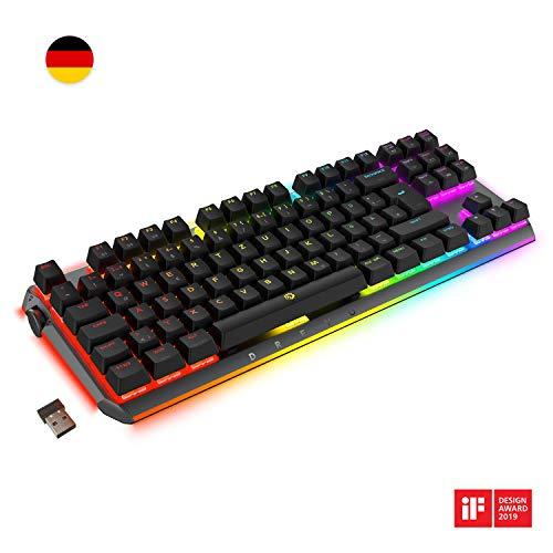 DREVO BladeMaster PRO 88K TKL Mechanische Gaming-Tastatur Deutsche Layout 2.4G Wireless/Bluetooth 4.0/USB-Kabel Cherry MX RGB Speed Silberner Schalter -