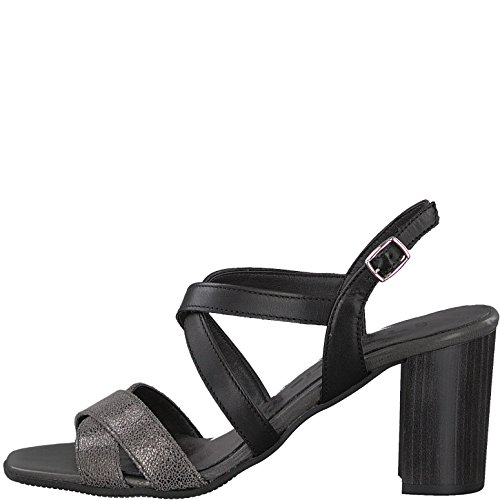 Tamaris Schuhe 1-1-28011-38 bequeme Damen Sandalette, Sandalen, Sommerschuhe für modebewusste Frau, BLK/PEWTER MET