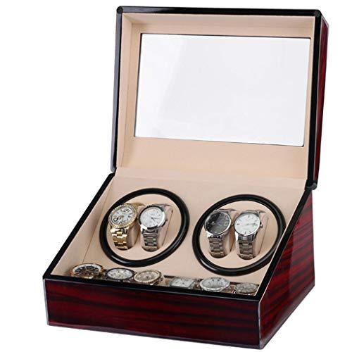 Boîte De Remontage Automatique De Montres De Luxe Silencieuses avec 4 Positions De Remontoir De Montre Et 6 Espaces De Stockage D'affichage pour Hommes Et Femmes