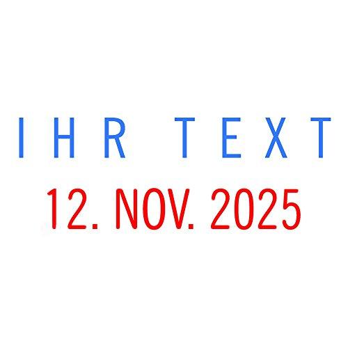 COLOP Mini Dater S160 Datumstempel mit 2farbigem Kissen blau/rot + Wunschtext, Stempeltext:I H R T E X T