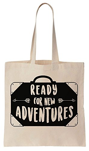 Ready For New Adventures Vintage Suitcase Tote Bag Baumwoll Segeltuch Einkaufstasche (Tote Polka Dots Print)