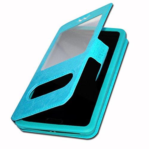 Yezz Andy C5VP Etui housse coque à fenêtres turquoise de qualité by PH26®