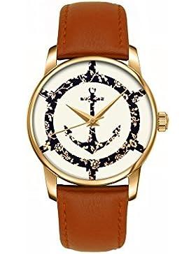 OOFIT-Uhren Damen-uhren braunes leder Armbanduhr, Analog Quarz Uhren
