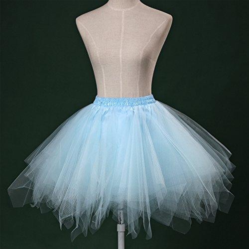 LSCY 1950s Vintage Schicht Gaze Petticoat Tutu Tutus Fluffy Schaum Falten Rock Tüllrock Kurz Ballett Light Blue