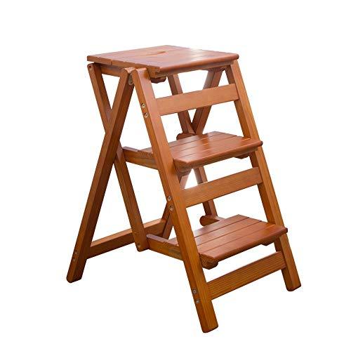 Baiyun Flyin Faltbarer Trittleiter Aus Massivem Holz, Trittleiter for Den Haushalt, 3-Stufen-Trittleiter, Faltbare Aufbewahrung (Color : Brown) | Baumarkt > Leitern und Treppen > Trittleiter | Fly