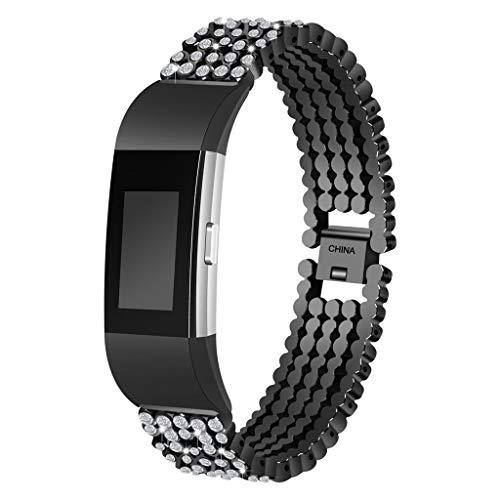 Altsommer Bling Edelstahl Metall Armband Gurt Band Ersatz für Frau Mädchen für Fitbit Ladung 2-5.5 to 7.6Zoll (Stifte, Die Aussehen Wie Holz)