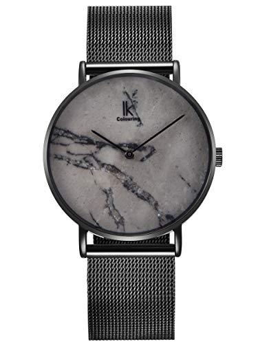 Alienwork Herren Damen Armbanduhr Quarz schwarz mit Milanaise-Mesharmband Edelstahl grau echtes Marmor Zifferblatt