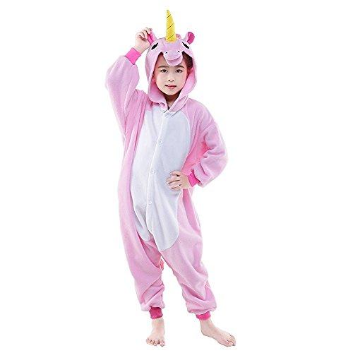 ABYED® Einhorn Kostüm Jumpsuit Onesie Tier Fasching Karneval Halloween kostüm damen mädchen herren kinder Unisex Cosplay Schlafanzug (Flanell Halloween Kostüm)