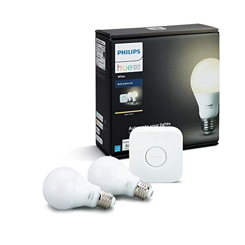 Philips Hue White A19 E27 60 W Equivalent Smart Bulb Starter Kit (2 Hue White Bulbs and a Bridge, Compatible with Amazon Alexa, Apple HomeKit and Google Assistant)