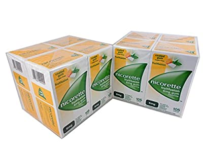8X Nicorette FRUITFUSION GUM 6 mg 105 Pieces Nicotine for Smoking Cessation from nicorette