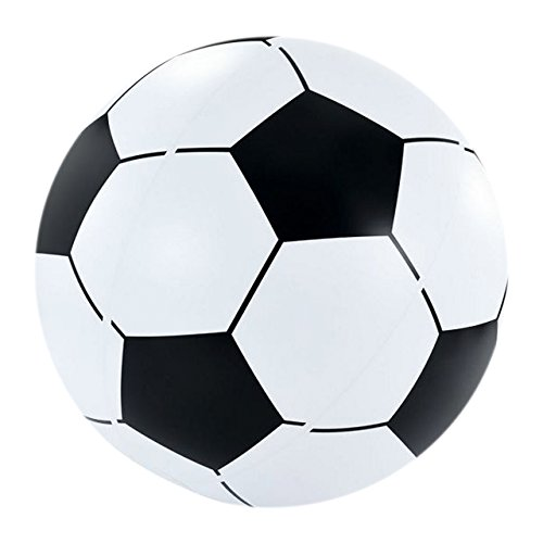 Igi - Fútbol hinchable gigante de 2,5 pies, bola de playa, juguete de agua, piscina, flotador, negro y blanco.
