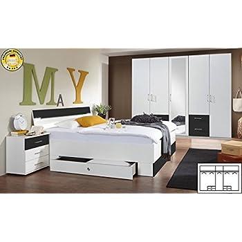 Schlafzimmer komplett 4-teilig 603560 weiß / anthrazit: Amazon.de ...