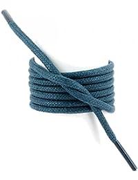 Les lacets Français - Lacets Ronds épais 3mm Coton Ciré Couleur Bleu Artic