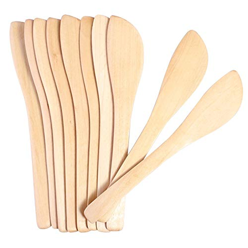 Cikuso 1 Juego De 10 Cuchillos para Untar De Bambú y Mantequilla De Cacahuate, Mascarilla Limpiar Cuchara con Forma De Bola De Bola De Masa De Madera Juego De 10 Piezas