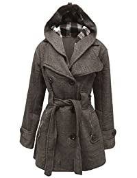 The Orange Tag Womens Belted Button Coat New Ladies Hooded Military Jacket Charcoal 12