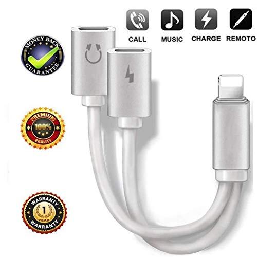 Kopfhörer Adapter für iPhone7 Adaptor und Dongle Jack Kopfhörer AUX Audio & Charge [Audio + Ladegerät + Call+ Musik Kontrolle] für iPhone 8/8 Plus/7 Plus Musik und Lade-Ersatz für iOS 12