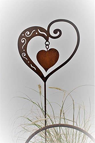 Rost Herz mit Innenherz 65cm Stecker - 4