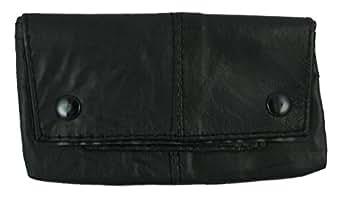 Générique Étui à tabac en cuir nappa Noir avec poche pour le papier à rouler