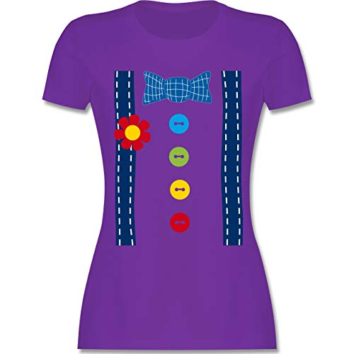 (Karneval & Fasching - Clown Kostüm blau - M - Lila - L191 - Damen T-Shirt Rundhals)