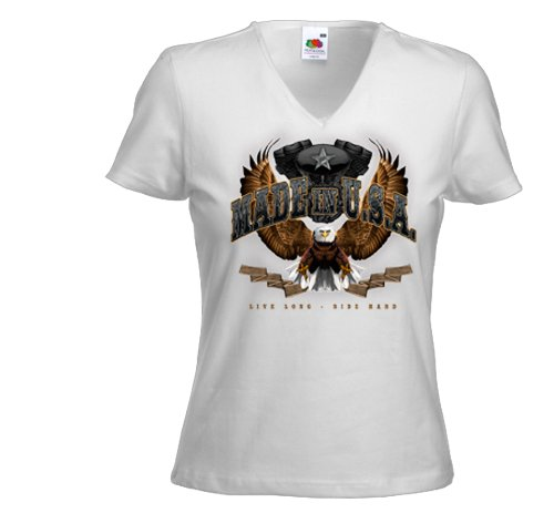 Biker Damen T-Shirt Made in USA weiß Adler Eagle Bike Racing USA Gr. XL (Damen Racing T-shirt)
