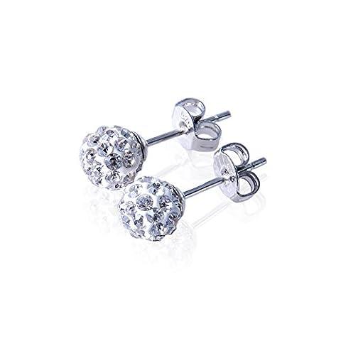aituo style Shamballa Bijoux Boucles d'oreilles clous en argent sterling