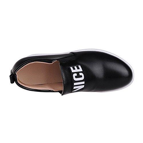 AgooLar Femme Pu Cuir Couleurs Mélangées Tire Rond à Talon Haut Chaussures Légeres Noir