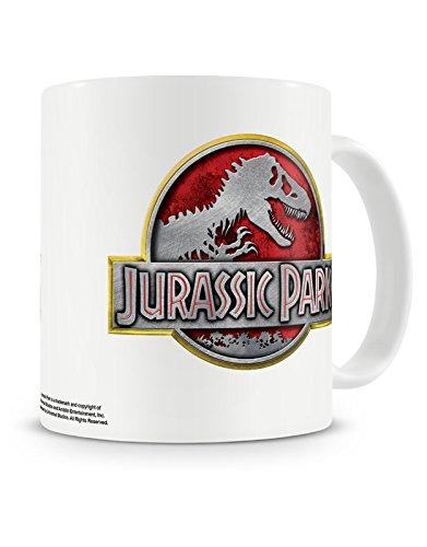 Jurassic Park Kaffeetasse Metallic Vintage Movie Logo offiziell Nue Weiß Boxed