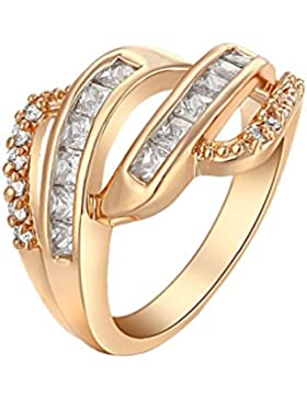 YAZILIND 18K Elegante Herrliche Threee Reihen weiße Kristall Ring Gold überzogene Partei ein Geschenk