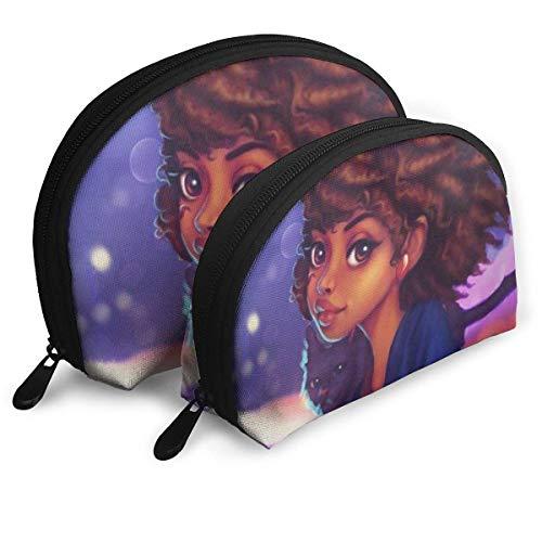 African American Black Girl Art Portable Reise-Kosmetiktaschen Organizer Set of 2 for Women Teens Girls (African Gloss American Lip)